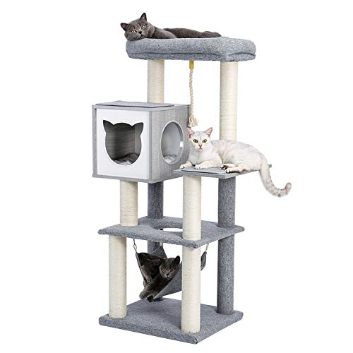 Made4Pets 52 Inches MultiLevel Cat Tree Modern Cat Activity Tower with Sisal Scratching Posts Hammock and ExtraLarge Top Perch
