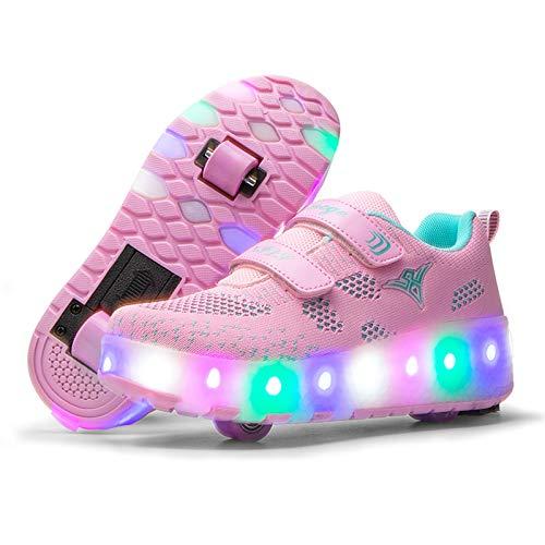LED Iluminado Zapatillas con Ruedas Zapatillas Deportivas LED para Niños Niña Niño LED Luces Skate Roller Zapatos, Automáticamente Retráctiles Zapatos de Roller con USB Recargable Luminosas Skatebo