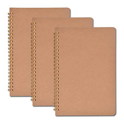 Bloc De Notas En Espiral Cuadernos A5 Kraft Cover 5 Paquetes Con Página De Cuadrícula Cuadrada, Alineada Y En Blanco Para La Escuela De Viajes 100 Páginas / 50 Hojas