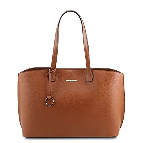 Tuscany Leather TLBag Borsa shopping in pelle Cognac