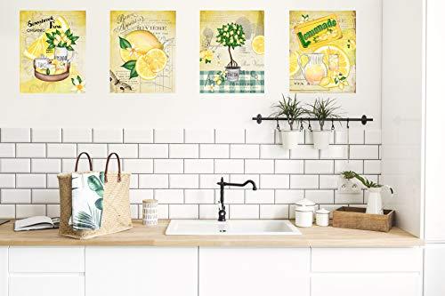 Twisted R Design Set of 4 UNFRAMED Kitchen Decor Art Prints (Lemons)