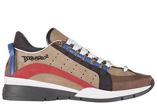 Dsquared2 scarpe sneakers uomo in pelle nuove 551 marrone