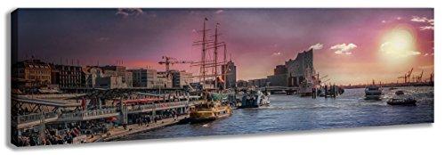 Ayra- Leinwandbild Panoramabild 120x40cm Wandbild Hamburg Hafen Sonnenuntergang, fertig gerahmt! Leinwand matt! kein Poster