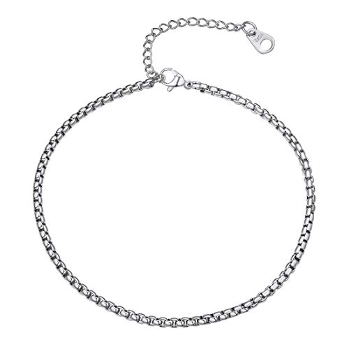 U7 Women Girls Barefoot Jewelry 18K Gold or Rose Gold Stainless Steel Infinity/Heart Charm/Rope/Figaro/Cuban Chain Anklet Foot Bracelet, 25-30 cm Long M Silver
