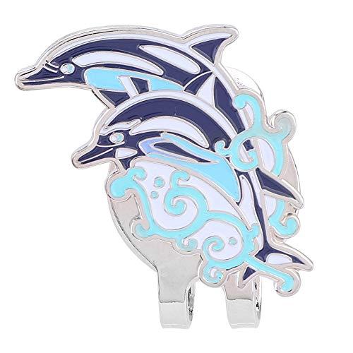 Tarente Clip de Acero Inoxidable del Casquillo del Sombrero del Golf con el Marcador de la Bola magnética Desmontable Delfines
