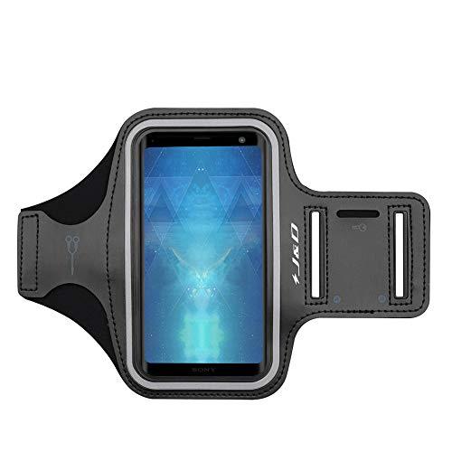 JundD Kompatibel für Sony Xperia XZ3/Xperia 1/LG Q60/LG V50 ThinQ 5G/V35 ThinQ/LG V30/LG V20/LG Velvet/Redmi 9 Armband, Running Armband, Zusätzliche Tasche für Schlüssel, Ideale Kopfhörer-Verbindung