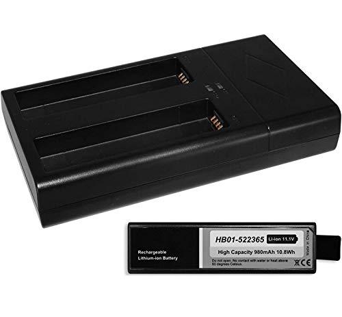 Akku (980mAh) + Dual-Ladegerät kompatibel zu HB01-522365 für DJI Osmo (Pro, Raw, Plus, Mobile) / Zenmuse X3, X5(R) [Li-Ion / 11.1V / Infochip]