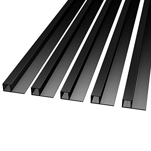 MOLA (MO-111) Fliesenprofil Aluminium 5 x 2m BLACK| Fliesen-Abschlussleiste für Led Streifen bis 1cm Breite | U-Profil Fliesenschiene + Acryl Abdeckung schwarz |Aluprofil belastbar