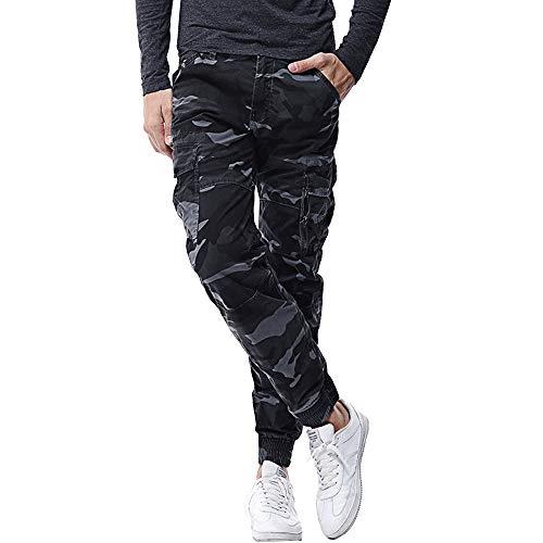 Pantalones cargo para hombre con bolsillos laterales, para actividades al aire libre Camo-azul marino. 38W