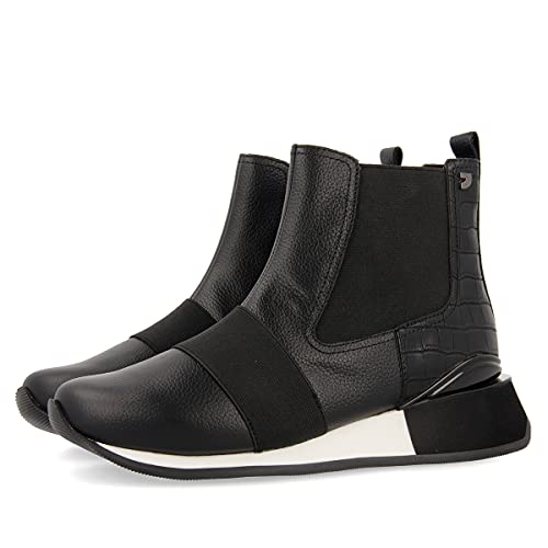 Sneakers Estilo botín Negros con elásticos y cuña para Mujer EGGESIN