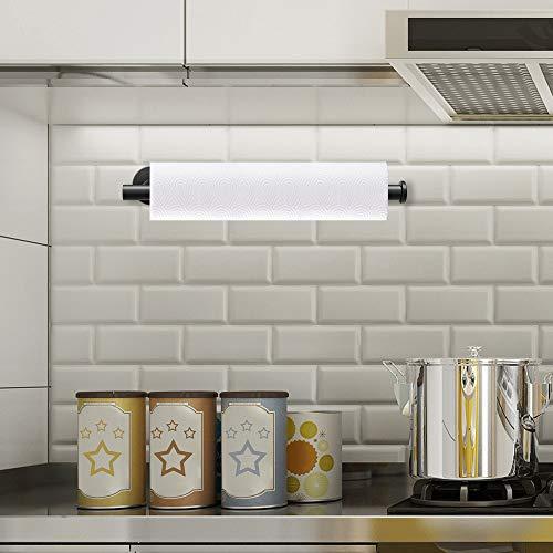 Laiashley Portarrollos de papel de cocina, de acero inoxidable, autoadhesivo, sin perforaciones, para baño, frigorífico, lavabo (34 cm)