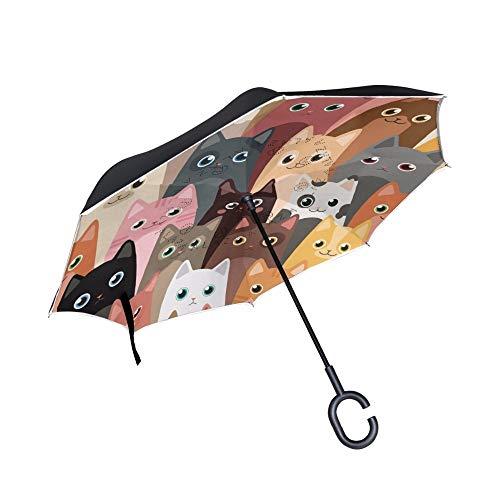 Paraguas de Gatos de Dibujos Animados invertidos de Doble Capa, parasoles de Lluvia a Prueba de Viento inversos para automóviles al Aire Libre, con Mango en Forma de CNegro