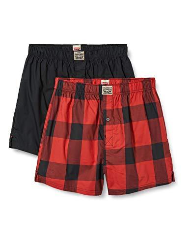 Levi's Mens Premium Buffalo Check Men's Woven Boxers (2 Pack) Boxer Shorts, red, M (2er Pack)