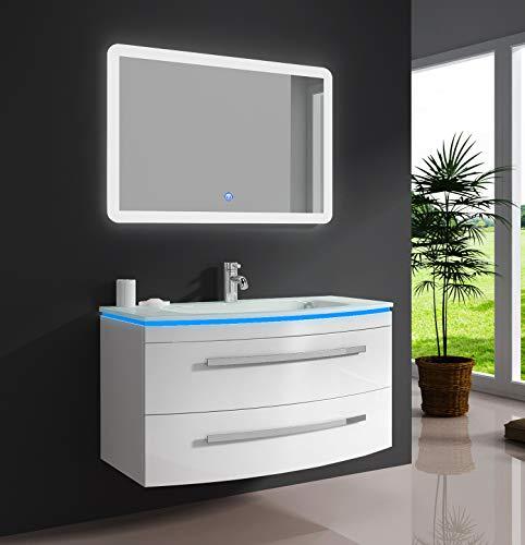 """Oimex Badmöbel Set """"Monica"""" Weiß Hochglanz Waschtisch 90cm inkl. LED Waschbecken, LED Beleuchtung Armatur und Spiegel Badezimmermöbel Set mit Glas Waschbecken"""