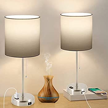 Set of 2 Bedside Table Lamp with USB Charging Port and AC Outlet 3 Color Temperatures Pull Chain Lamp with White Shade Nightstand Desk Lamp for Bedroom Living Room Office 2 Blubs Included.
