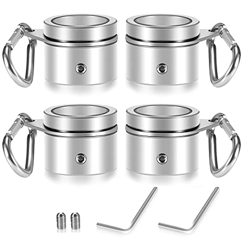 REERON 1' Flag Pole Rings Clips 360° Rotating Flagpole Swivels Clips Flag Mounting Rings - Aluminum Alloy Anti Furling Flagpole Rings Flag Parts Kit for 0.75-1.02 Inch Diameter Pole (Silver - 4PCS)