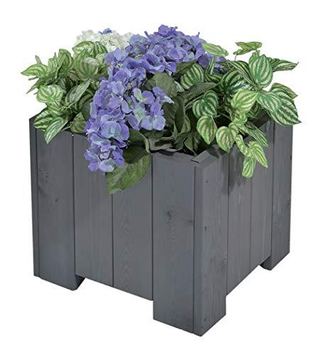 GASPO Blumenkasten Wels   aus massivem Holz   45 x 45 x 35 cm, Vintage grau   Pflanzkübel für Garten und Balkon