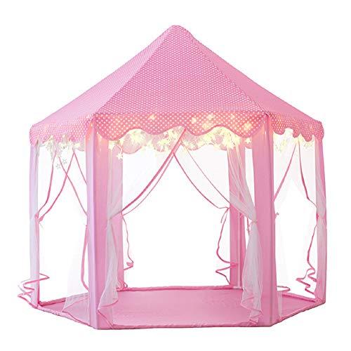 MYMM Kinderzelt, kinderspielzelt,Prinzessin Castle Spielzelt, Kinder Nook Zelte für Indoor & Outdoor Use, Tragetasche, Baby Geburtstagsgeschenk, Für Kinder im Alter unter 10 Jahren (Kinderzelt, Rosa)