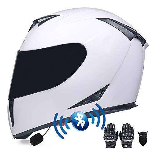 DYOYO Motorradhelm mit Bluetooth Headset Integriert, Integralhelm Geschlossenen ECE-geprüft, Sturzhelm Anti-Fog-Doppelspiegel Die Windgeräusche Funk Sprechanlage 55-64CM