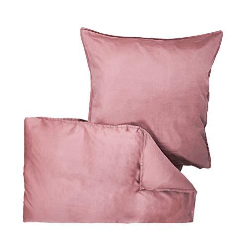 Butlers BEDTIME Satin Bettwäsche 135x200 cm Set 2-teilig in Rosa - Bettzeug aus Baumwolle - Bezug für Kopfkissen und Decke