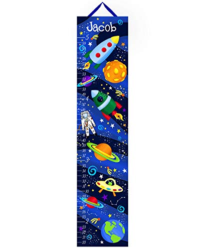 Toad and Lily Canvas Growth Chart Outerspace Rocket Ship Boys Bedroom Kids Baby Nursery Wall Art Personalized Kids Growth Chart Height Chart GC0167