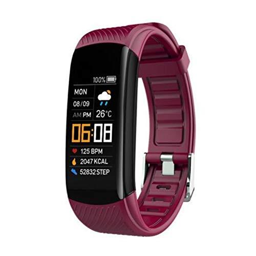 LXF JIAJU Bluetooth IP67 Empresa Impermeable Ritmo Cardíaco Sueño Monitoreo Múltiple Modo Deportivo Información Recordatorio De Vibración Reloj Inteligente (Color : Wine Red)