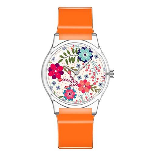 ULTECHNOVO Kinderuhr wasserdichte Uhr Cute Floral Armbanduhr Japanische Bewegung Armbanduhr Mädchen Plastikuhr (Orange)