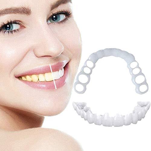 GUTRY Unsichtbare Zahnspangen Instant Smile Teeth Veneers Temporäre Kosmetische Zahn Abdeckung Zum Abdecken Unregelmäßig Fleckiger Fehlender Und Abgebrochener Zähne2 Pair (Upper Teeth + Lower Teeth)