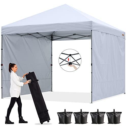 ABCCANOPY 2,5x2,5M Pavillon Outdoor Easy Pop-up-Überdachungszelt mit 2 Seitenwände,Central Lock-Serie,Weiß