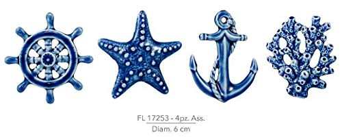PIANETA CONFETTI 24 Pezzi, Bomboniera in Ceramica per segnaposto, confettata Tema Mare, 4 Assortiti, Battesimo, Nozze, Comunione, CRESIMA CM 6. Magnete calamita (CKFL17253)