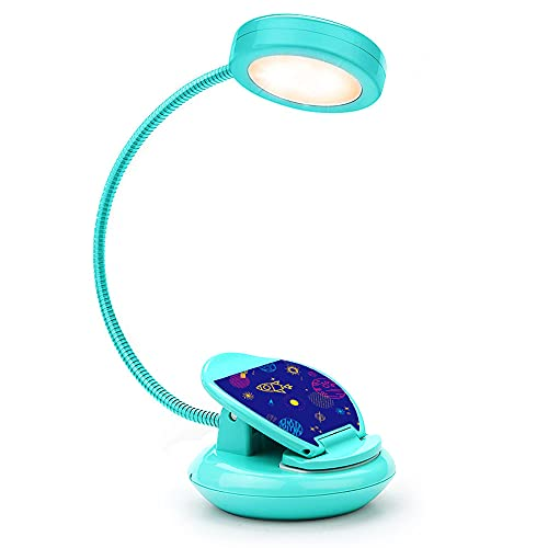 Vekkia Cute Rechargeable 4 LED 3000K Eye-Care Book Light, Clip on Reading Lights for Reading in Bed, 3 Levels, 1.8oz Super Light Weight, Up to 40 Hours Reading. Perfect Gift for Bookworms & Kid