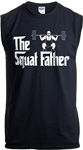 The Squat Father   Funny Workout Weight Lifting Sleeveless Muscle Shirt for Men-(Adult,2XL) Black