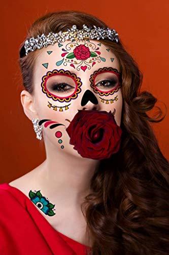 Costumi di Halloween Tatuaggi di zombi, Trucco per le decorazioni di scena per feste di Halloween, Adesivi per cicatrici per il corpo per cosplay 18 fogli (Tatuaggi di zombi)