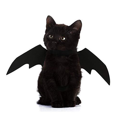 Coversolat Fledermaus Flügel Hunde Kostüm Welpen Katzen Kleidung Halloween Karneval Haustierfeier (M, Schwarz)