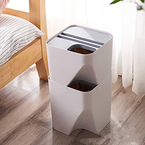 Gestapelde vuilnisbak Gemaakt van PP-materiaal Slijtvaste en duurzame vuilnisemmer voor keuken Woonkamer Badkamer Afval Utility Plastic bakken,White,small