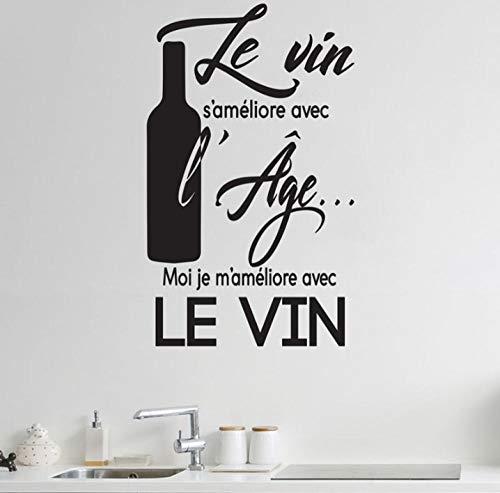 Muurstickers Applique Franse wijn Slogan Restaurant Keuken Vinyl Zelfklevende muurschildering 42X69 cm