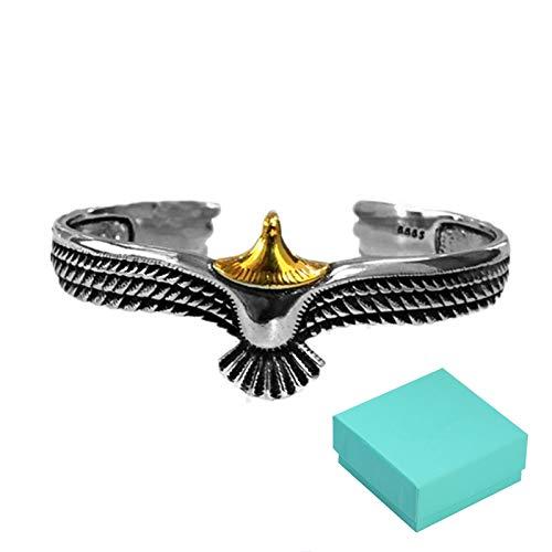 SUNNFLOOWER Pulsera de águila Plateada Plateada S925, Pulsera de Plumas Punk Artesanal desgastada Vintage, Brazalete de alas de Apertura Ajustable Unisex