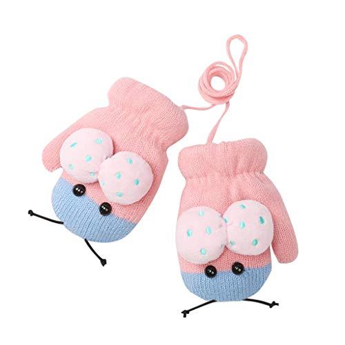 URSING Säugling Süße Fäustlinge Skihandschuh Baby Kleinkind Gestrickte Handschuhe Kinderhandschuhe Jungen Mädchen Winter Warme Strickhandschuhe mit schnur Fleece-Innenfutter für 1,2,3 Jahre