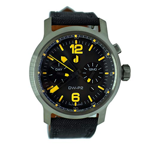 Duzu Watches DW-P2 Pilot, Automatik, Titan, Datum, Multifunktional, Cordura, Schwarz, Orange, Herren Uhr