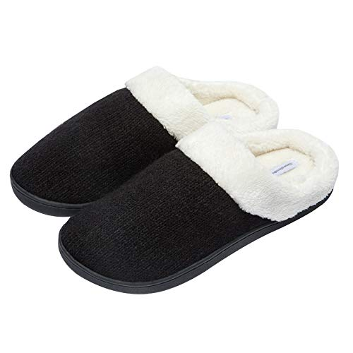 WOTTE Women's Cozy Memory Foam Knitted Slippers Scuff with Faux Fur for Indoor Outdoor Size 12-13 Black