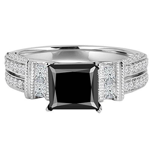 2 4/5 CTW prinses zwarte diamant twee-rij solitaire met accenten verlovingsring in 14K wit goud (MD190393)