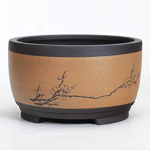 Layla Beauty Store Pot Runde Keramik Blume grüne Pflanze Bonsai topfförmigen Blumentopf chinesischen Stil Trommel atmungsHauptDekoration Blumentopf Handwerk Exquisite Mode-Design,1,L