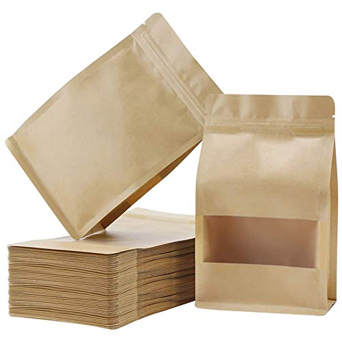 Youmine 50PCS Standing Bag, Reusable Sealed Storage Bag with Kraft Paper Frosted Window, Re-Closable for Nut Bean Tea 20X30cm