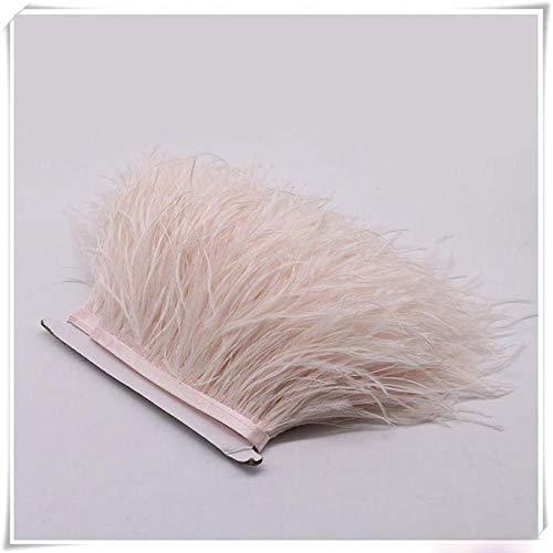 Bene Omnia - Plumas de avestruz con flecos, esponjosas, para hacer tocados y manualidades, 36 colores, paquete de 1 metro Rosa desnudo.