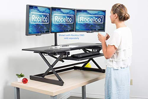 """Rocelco 46"""" Large Height Adjustable Standing Desk Converter, Quick Sit Standup Triple Monitor Riser, Gas Spring Assist Computer Workstation, Retractable Keyboard Tray, (R DADRB-46), Black"""
