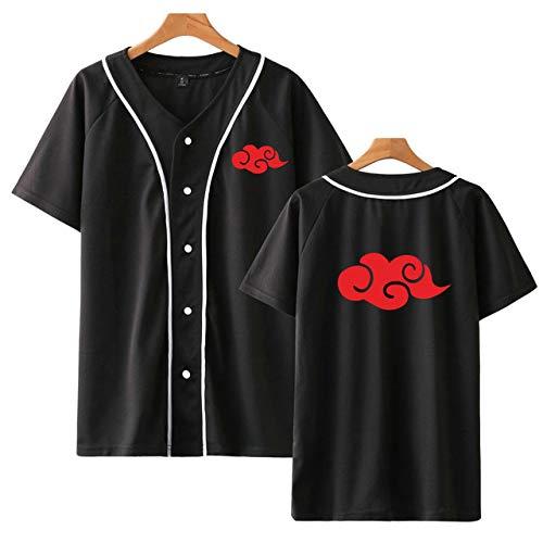 HNOSD Baseball Jacke Naruto Akatsuki Kostüm Anime Baseball Shirt Kurzarm Tees Hip Hop Uchiha Itachi Streetwear Schwarz 1 L