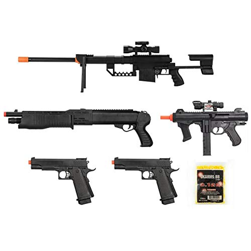 Mixed Lot of 5 Airsoft Guns Sniper Rifle Shotgun Spring Pistols & 1,000 6mm BBs Toy Guns Guaranteed Quality