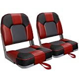 Leader Accessories A Pair of New Low Back Folding Boat Seats(2 Seats) (D-Red/Black/Charcoal)
