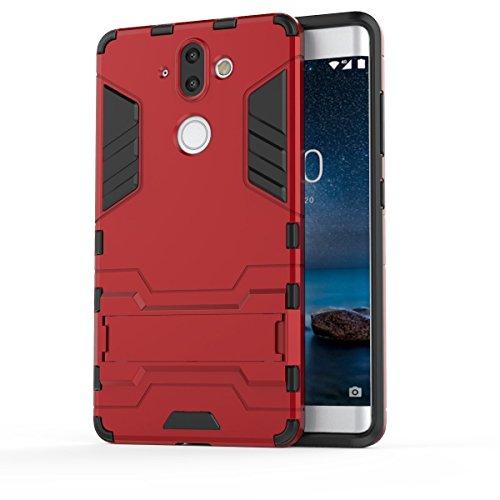 TenYll Nokia 8 Sirocco Hülle, Doppelschicht-Design Stoßfest Hybrid Robuste TPU+PC Schutzhülle Mit Standfunktion,Hülle für Nokia 8 Sirocco -rot