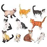 Hearthxy Juego de 10 figuras de gato pequeñas y realistas de animales en miniatura, colección de gatitos, decoración de tartas, para niños y niñas, jardín, decoración de escritorio